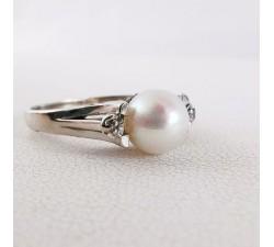 Bague Perle et Diamants Or Blanc 750 - 18 carats (Bijou d'Occasion)