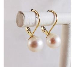 Boucles d'Oreilles Dormeuses Perles Or Jaune 750 - 18 carats (Bijou d'Occasion)