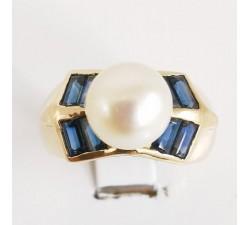 Bague saphir perle Or jaune 18 carat bijoux d'occasion