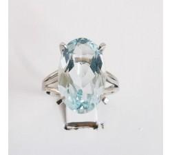 Bague Aigue Marine Or Blanc 750 - 18 carats (Bijou Occasion)