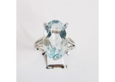 Bague Aigue Marine Or Blanc 18 carats Bijoux d'occasion