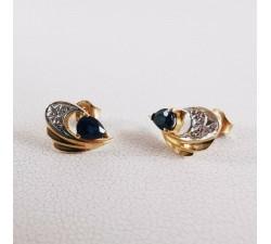 Boucles d'oreilles saphir or jaune 18 carats