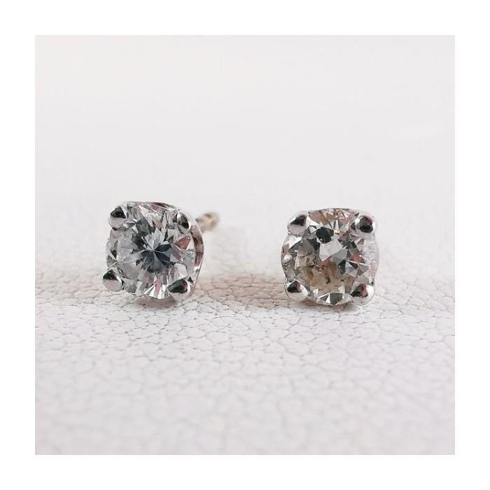 Boucles d'Oreilles Puces Diamants 2 x 0.17 ct Or Blanc 750 - 18 carats (Bijou Occasion)