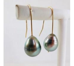 Boucles d'oreilles perle de Tahiti Or jaune 18 carats