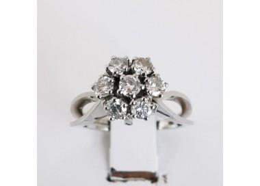 Bague Vintage Diamants Or blanc 18 carats, bijoux d'occasion, bague d'occasion.