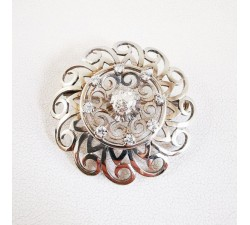 Broche Ancienne Or Blanc 18 carats Diamants, bijoux anciens.