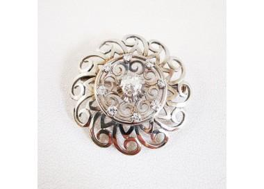 Broche Ancienne Or Blanc 18 carats Diamants, bijoux anciens.
