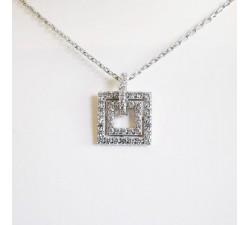 Collier pendentif carré Oxydes de Zirconium Argent