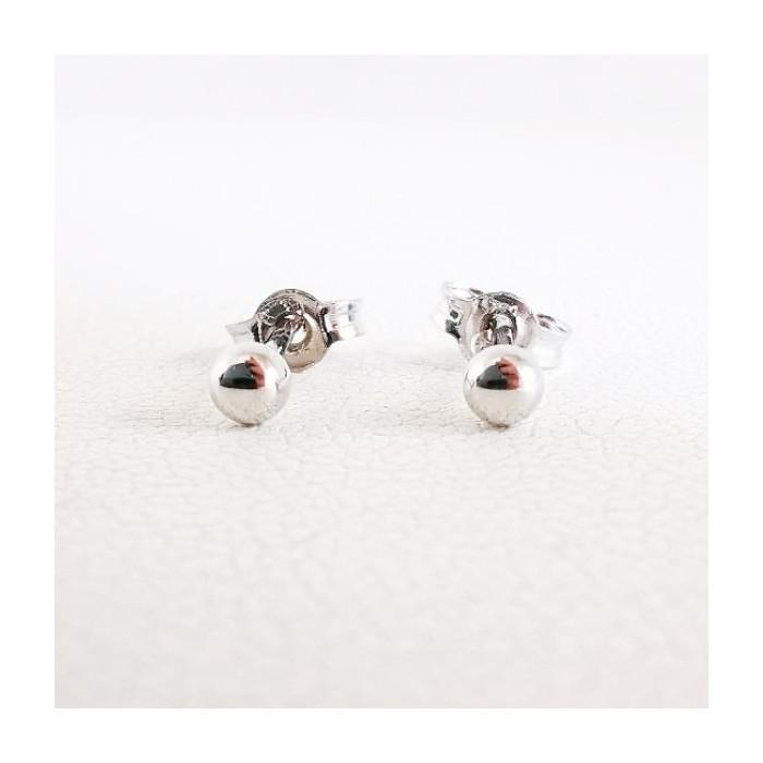 Boucles d'oreilles Puces Boules Or Blanc