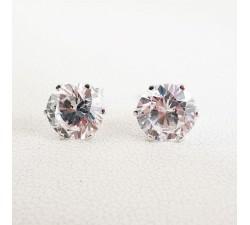 Boucles d'oreilles Puces Oxydes de Zirconium Or Blanc 750 (18 carats)