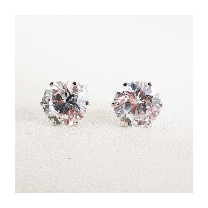 Boucles d'oreilles Puces Oxydes de Zirconium Or Blanc