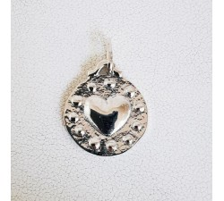 Pendentif Médaille Coeur Argent