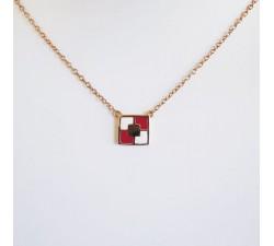 Collier Mosaïque Plaqué Or Rose