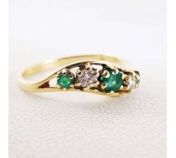Bague Emeraude Diamants Or Jaune 18 carat (bijou d'occasion) Noces d'Emeraude