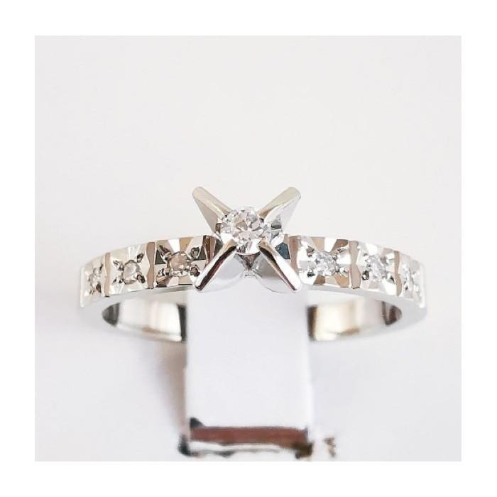 Solitaire Accompagné Diamants Or Blanc (Bijou Occasion)