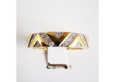 Demi Alliance Diamants Design Géométrique Or Jaune 18 carats