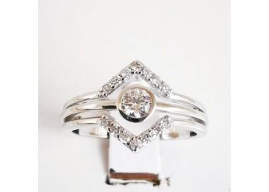 Bague Géométrique Diamants Or Blanc 18 carats, bague de fiançailles.
