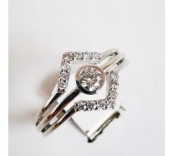 Bague Géométrique Diamants Or Blanc