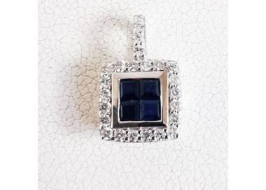 Pendentif Saphir Diamants Or Blanc 18 carats