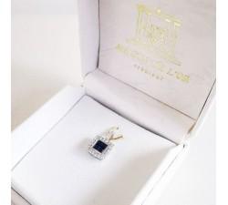 Pendentif Saphir Diamants Or Blanc