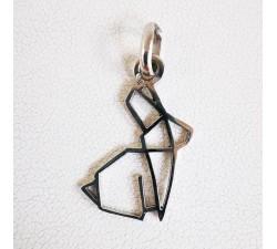 Pendentif Lapin Origami Argent