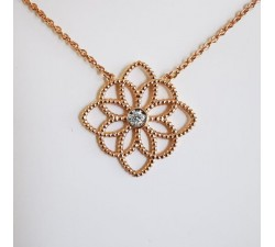 Collier Rosace Diamant Or Rose 750 (18 carats)