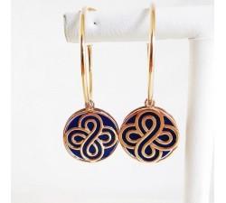 Boucles d'Oreilles Créoles Lapis Lazuli Or Rose 750 (18 carats)