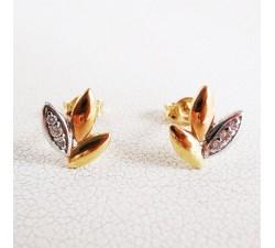 Bijoux Boucles d'Oreilles Epis Diamants 3 Ors Or 750 (18 carats)