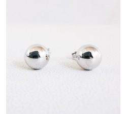 Boucles d'oreilles Puces Boules Or Blanc 18 carats - or 750