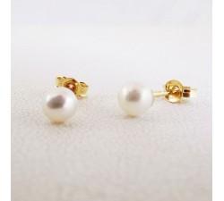Boucles d'oreilles Puces Perles Or Jaune 18 carats - or 750
