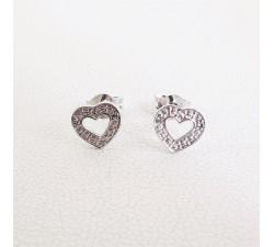 Boucles d'oreilles Puces Cœurs Diamants Or Blanc 18 carats - or 750
