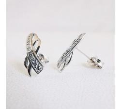 Boucles d'Oreilles Puces Diamants Or Blanc 18 carats - or 750