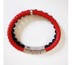 Bracelet Homme Cuir rouge et onyx noir