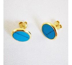 Boucles d'Oreilles Puces Turquoise reconstituée Argent Doré