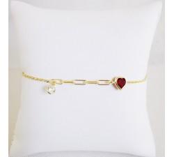 Bracelet Cœur Argent Doré