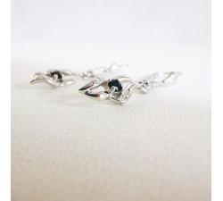 Boucles d'Oreilles Dormeuses Saphir Or Blanc 750 (18 carats)
