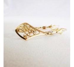 Boucles d'Oreilles Dormeuses Filigrane Or Jaune 750  18 carats