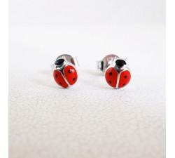 Boucles d'oreilles Enfants Puces Coccinelle Argent