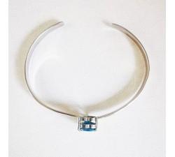 Bracelet Jonc Topaze Argent Pièce unique Bracelet esclave Bracelet manchette