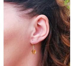 Boucles d'oreilles Dormeuses Citrine Or Jaune