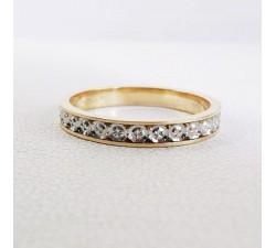 Alliance Effet Diamanté Bicolore 18 carats or jaune et or blanc