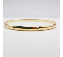 Bracelet Jonc Massif largeur 4 mm Or Jaune 18 carats Demi Jonc plat