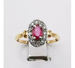 Bague ancienne Rubis Diamants Or Jaune 750 - 18 carats (Bijou d'Occasion)