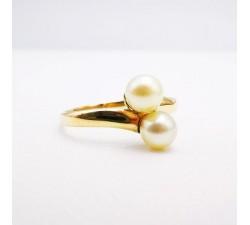 "Bague Perle ""Toi et Moi"" Or jaune 750 - 18 carats (Bijou Occasion)"
