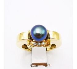 Bague Perle de Tahiti Diamants Or Jaune 750 - 18 carats (Bijou Occasion)
