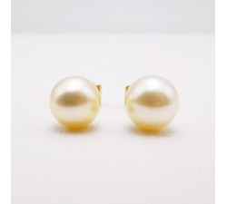 Boucles d'Oreilles Puces Perles Or Jaune 750 - 18 carats (Bijou Occasion)
