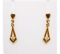 Boucles d'Oreilles Pendantes Or Jaune 750 - 18 carats (Bijou Occasion)