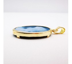 Pendentif Camée Agate bleue Or Jaune 750 - 18 carats (Bijou Occasion)