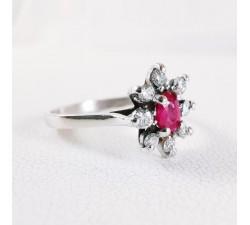 Bague Little Lady Rubis Diamants Or Blanc 750 - 18 carats  Bague Marguerite Bague entourage