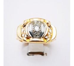 Bague des années 30 / 40 Saphir Blanc Or Jaune 750 - 18 carats (Bijou d'Occasion)